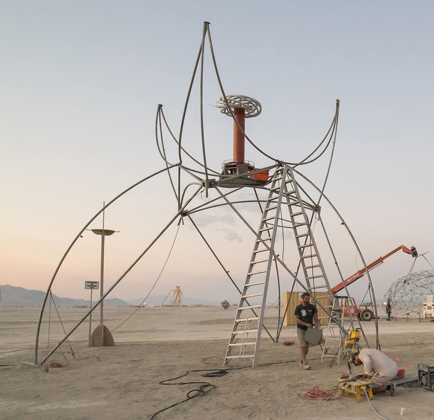 Matt and David working on Coup de Foudre at Burning Man