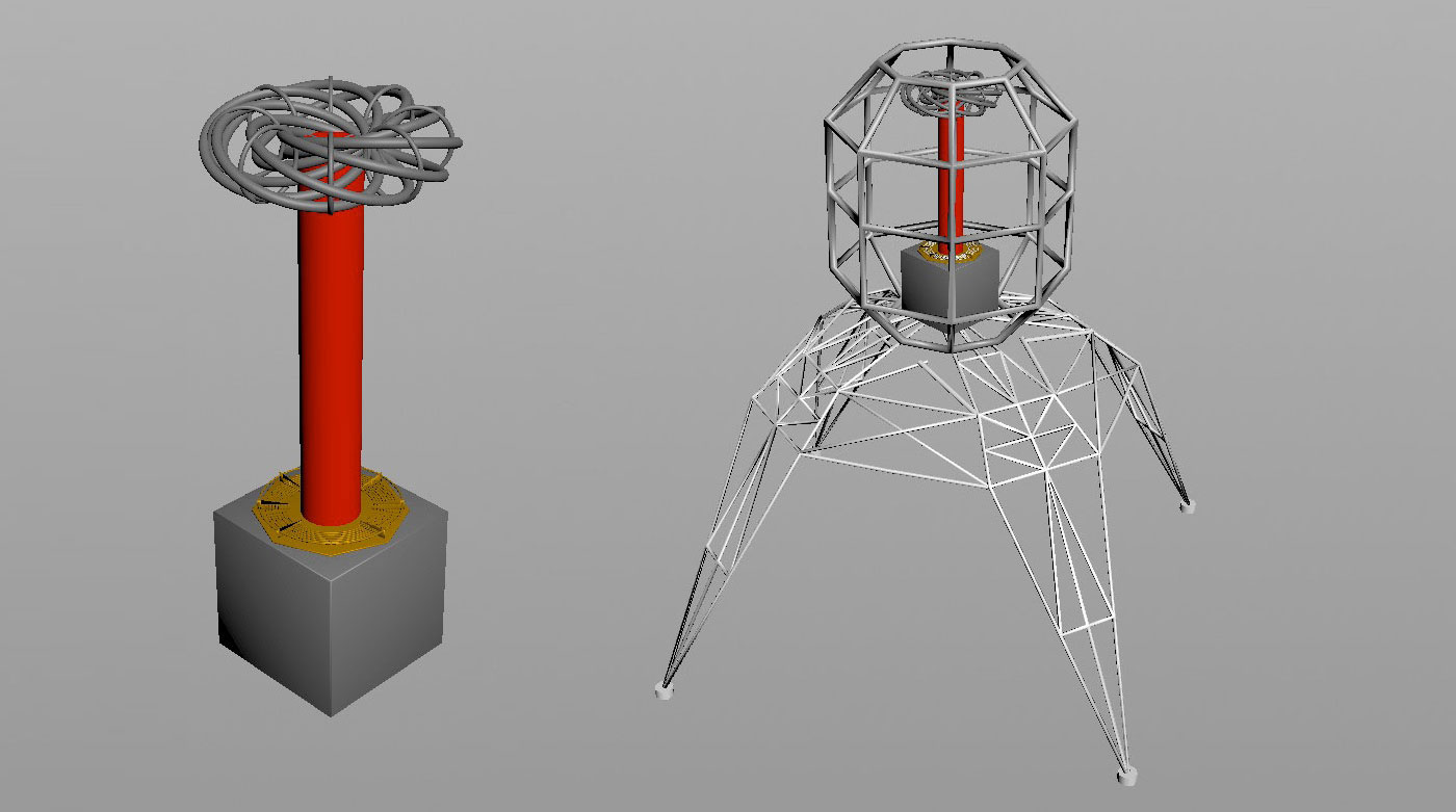 Further revisions on computer generated renderings of the coil, cage, and support structure.