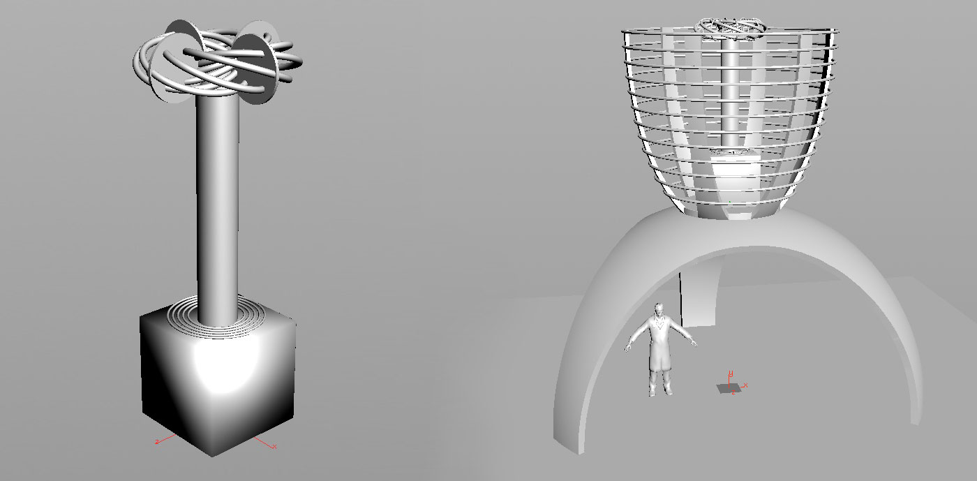 Jason's computer generated renderings of the coil, cage, and support structure.